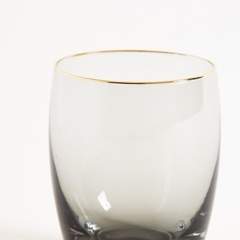 VASO BLACK GLASS BORDE DORADO 9.5X7.5CM en internet