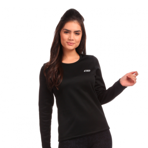 Blusa 2ª Pele Power Warm Preto Feminino - Sol Sports