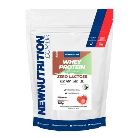 Whey Zero Lactose 900g Morango All Natural - NewNutrition