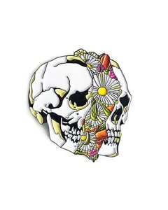 Broche Pin - Floral Slipt Skull - Caveira Floral  - Strikegently.co