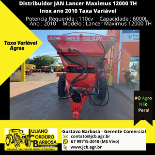 Distribuidor JAN Lancer Maximus 12000 TH Inox ano 2010 Taxa Variável - JAN
