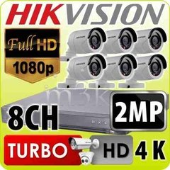 Kit Seguridad Hikvision Full Hd 1080p Dvr 8 + 6 Camaras 2mp
