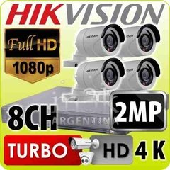 Kit Seguridad Hikvision Turbo 4.0 Dvr 8 + 4 Camaras 1080 2mp