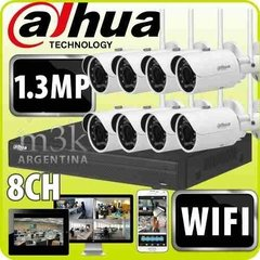 Kit Ip Seguridad Dahua Nvr 8 + 8 Camaras Wifi Inalambricas