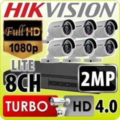 Kit Seguridad Hikvision Dvr 8 + 6 Camaras 1080p 2mp Exterior